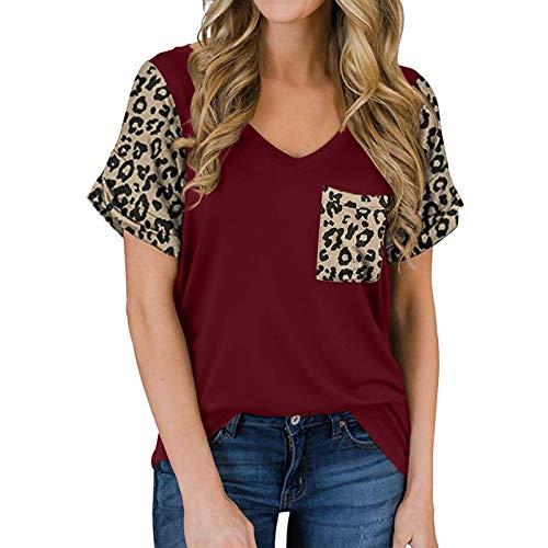 YANFANG Camisetas Mujer Manga Corta Talla Grande, Camisas de Manga Corta con Estampado de Leopardo para Mujer con Bolsillo con Cuello en V Camiseta Casual Top, L,Wine