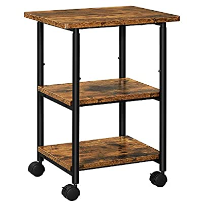 VASAGLE Industrial Printer Stand, 3-Tier Machine Cart with Wheels and Adjustable Table Top, Heavy Duty Storage Rack for Office and Home, Rustic Brown and Black UOPS003B01