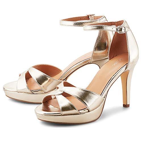 Cox Damen Riemchen-Sandalette Gold Metallic-Kunstleder 41