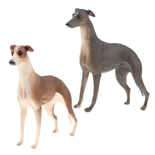 Perfeclan 2X Realistic Wildlife Jungle Windhund Hund Haustier Tier Modell Figur Kid Toy