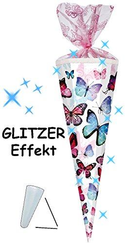 alles-meine.de GmbH mit 3-D Glitzer Effekt ! - Schultüte -  Schmetterlinge - bunt  - 85 cm / 12 eckig - Organza Abschluß - Zuckertüte - mit / ohne Kunststoff Spitze - für Mädch..
