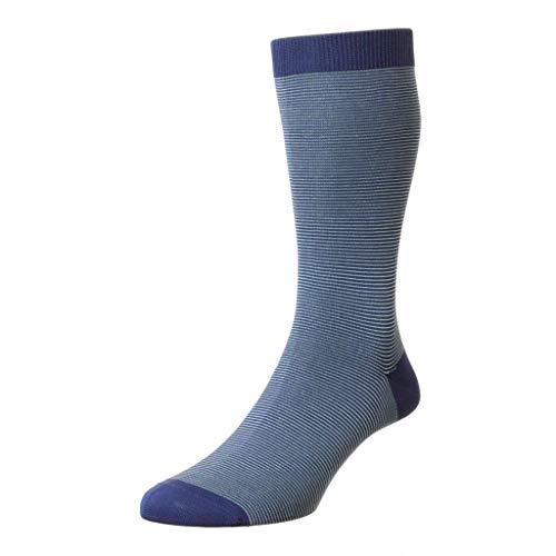 Pantherella Seymour Herren-Socken, mittelhoch, mit Mikrostreifen - Blau - Medium