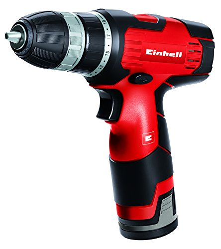 Einhell TH-CD 12 Li - Taladro sin cable, 1 velocidad, batería de 1.3 Ah, 22 Nm, portabrocas 10 mm, 12 V, color negro y rojo