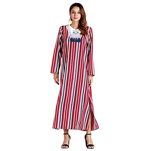 Good dress Frauen Frühling und Herbst Große Größe Gestreiften Kleid Langen Rock Pakistanischen Kleidung, rot, XL