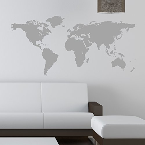 WORLD MAP WALL STICKER KIDS Wall Sticker Decals 90 grey by THE VINYL BIZ