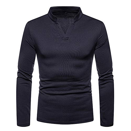 YJNH Men's Pullover t-Shirt Long-Sleeve Solid Color V-Neck Slim Fit Sweatshirt Spring and Autumn New Outdoor Casual Daily Wear Streetwear Winter Bottoming Shirt XL