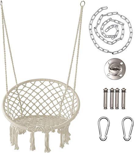 Hammock Chair, Cotton Rope Macrame Swing, 120Kg Capacity, 50Cm Width, for Indoor, Garden, Patio, Yard,Hammock with accessories