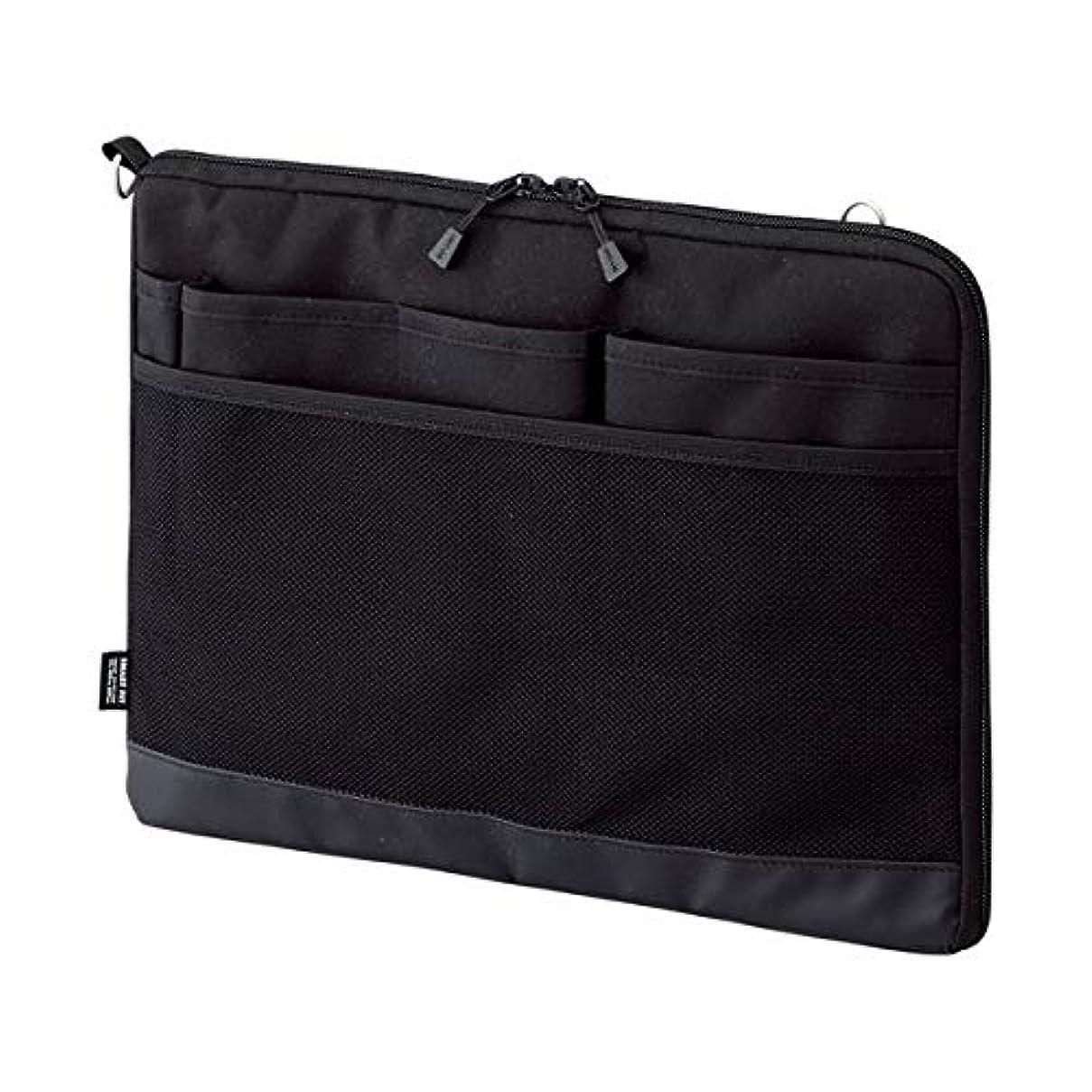 逸脱さわやかコーチ日用品 パソコン関連 (まとめ買い) バッグインバッグ (ヨコ型) A4 ブラック 【×3セット】