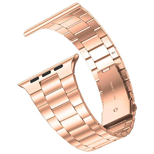 Pulsera de eslabones metálicos para Apple Watch Band SE Series 6 5 4 40 mm 44 mm Banda de acero inoxidable Business para IWatch 3 2 1 Correa 38 mm 42 mm-oro rosa, 44 mm o 42 mm