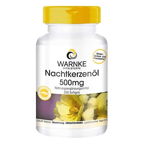 Nachtkerzenöl 500mg - Kaltgepresst - Linolsäure - Gamma-Linolensäure - natürliches Vitamin E - 250 Softgel-Kapseln - Großpackung