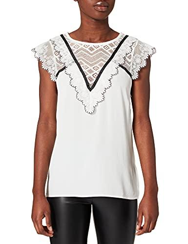 Naf Naf Oemilito SM Camiseta, Ecru/Noir, L para Mujer