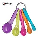 Nikgic Messlöffel Set Bunte Kunststoff Messlöffel Set für Backen Küche 5 Stück