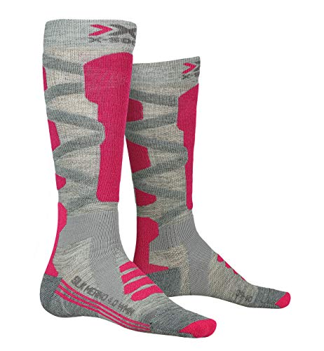 X-SOCKS Chaussettes Ski Silk Merino 4.0 Lady Chaussettes de ski Femme Gris/Rose FR : S (Taille Fabricant : S(37-38))