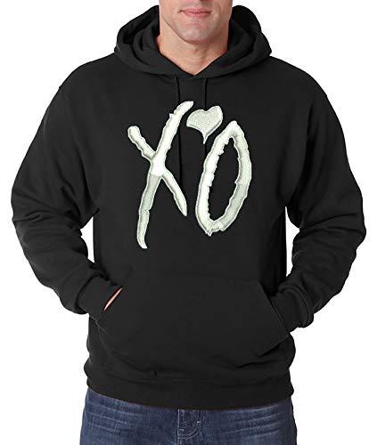 Urban Kingz Bestickter Herren Hoodie Kapuzenpullover XO - The Weeknd Stick Logo, Schwarz, Gr. XL