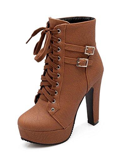 Minetom Damen Worker Boots Einfarbige Schnürsenkel Hohe Absätzen Stiefeletten mit Schnalle Blockabsatz Schuhe Outdoor Stiefel Braun EU 38