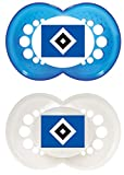 MAM Football Schnuller im 2er-Set, Original Schnuller im Fan Design vom Hamburger Sportverein, zahnfreundlicher Baby Schnuller aus MAM SkinSoft Silikon, 6-16 Monate