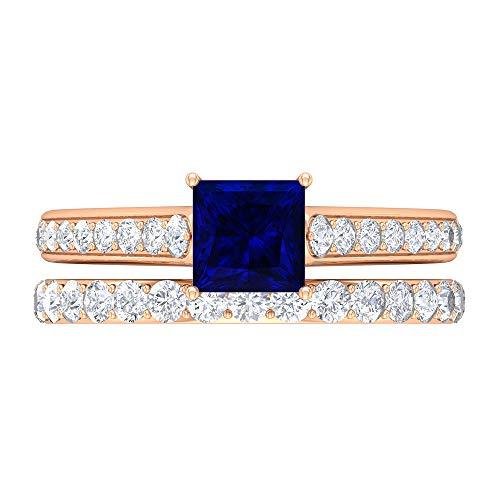 Anillo de compromiso solitario para mujer, D-VSSI de 1,8 quilates de 5,5 mm de corte princesa de zafiro azul, anillo de declaración vintage, joyería de novia, oro de 14 quilates, Metal, Moissanite,