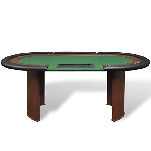 Festnight Pokertisch Spieltisch Casino Poker Tisch bis zu 10 Spieler mit Dealerbereich und Chipablage 208x107x81cm Grün - 3