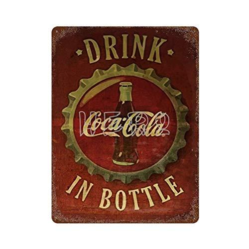 Coca Cola Bebida EN Botella Vintage Tin Sign Art Iron Painting Rusty Poster Decoración Placa de Aluminio Interesante Personalidad Banda película para Hotel Cafe