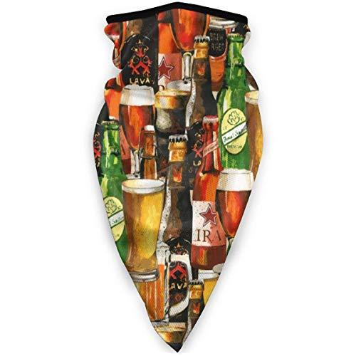 WH-CLA Calentador De Cuello para Hombre Mujer,Arte De Botellas De Cerveza Vintage Cuello Bufanda Respirable Cuello Pañuelo Secado Rápido Pañuelo De Cabeza Viento Polvo Prueba Bufanda Facial para Yoga