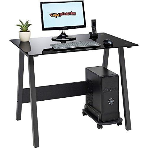 Compact Toughened Black Glass Computer Desk Home Office Piranha Furniture Barbel PC 7bg