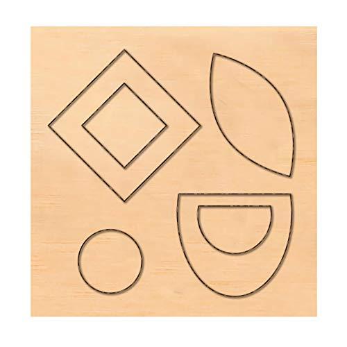 PandaHall Molde de madera para recortes de corte de piel, cuadrado, círculo, ojo de caballo, para pendientes, joyería, bricolaje, artesanía de cuero
