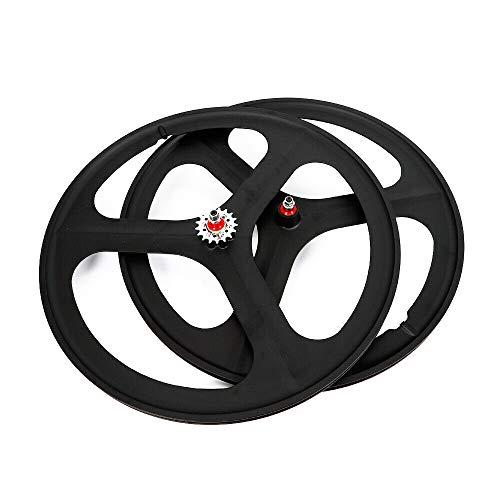 TBVECHI 700c 3-Spoke Single Speed Fixie Bicycle Black Wheel Front & Rear Set