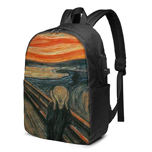 17 en mochila para ordenador portátil, cargador USB, bookbag Munch Edvard The Scream Schoolbag Fashion Man Boy Label Card Bag