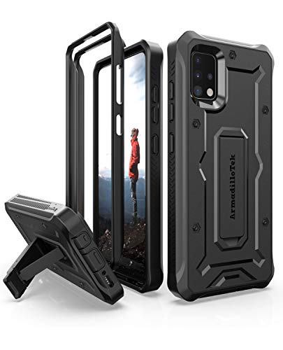 ArmadilloTek Vanguard Schutzhülle für Samsung Galaxy A51, nicht 5G Version, Militärqualität, robust, mit Ständer, Schwarz
