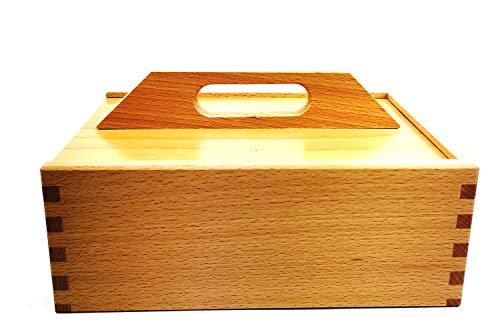 Caja para limpieza de zapatos de madera de haya (sin contenido, con grabado personalizable), color natural