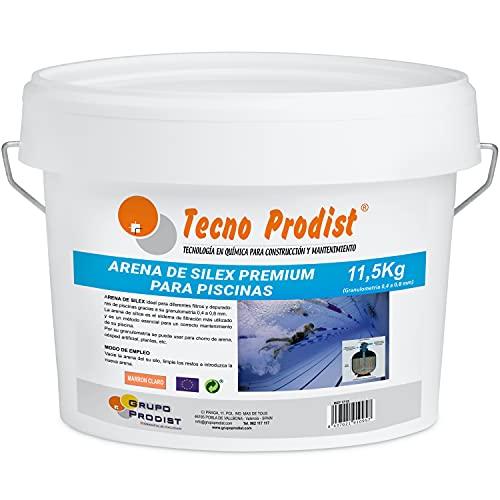 Tecno Prodist Arena DE Silex Premium para Piscinas Cubo de 11,5 Kg (Granulometría 0,4 a 0,8 mm)...