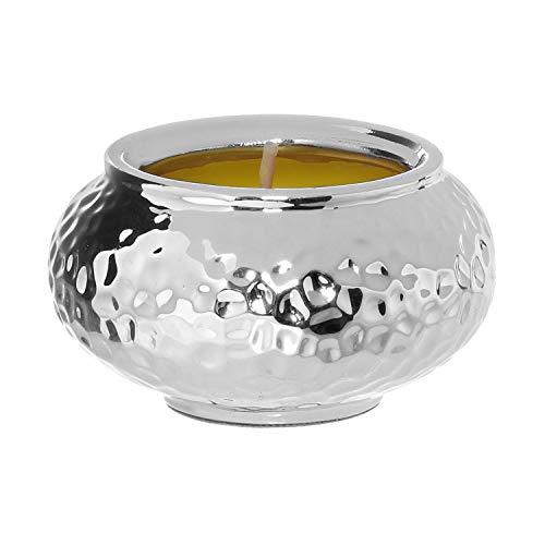 Porta candela martellato con candela giallo Giallo