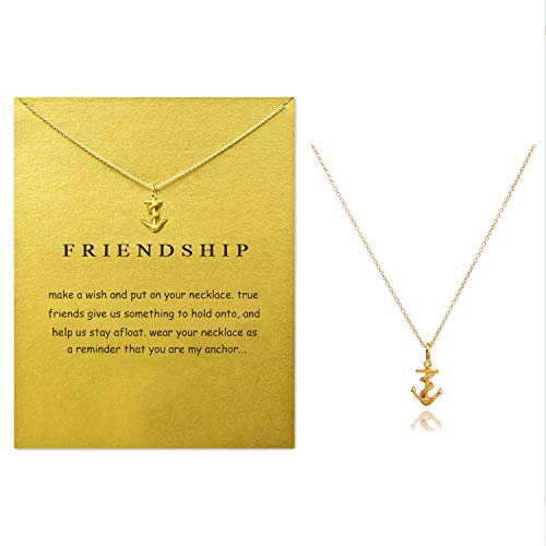 Clavicle Necklace with Blessing Gift Card, Small Dainty Gold Anchor with Rope Pendant Chain, Classy Costume Choker Jewelry Favors
