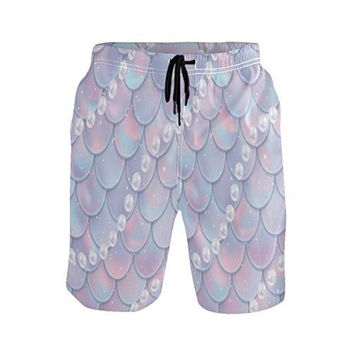 Sawhonn Pez Sirena Arcoiris Escamas Perlas Bañador para Hombre Pantalones Cortos Bañadores Shorts para Hombres Natacion Piscina Surf Playa