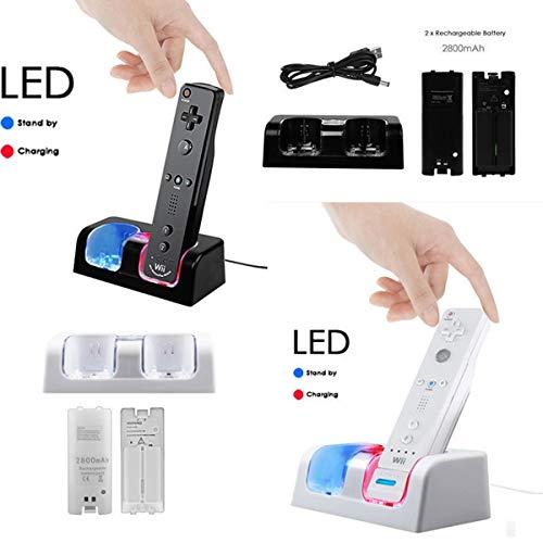 Wallfire Ladestation für Zwei Ladegeräte Fernladestation + 2 Akku Für Wii/Wii U-Fernbedienung 2-in-1-Controller-Ladegerät (Color : Black)