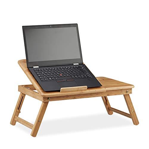 Relaxdays, 30 x 69 x 35 cm, Marrón Mesa Ordenador Portátil con Cajón para Cama y Sofá, Altura Ajustable, Bambú