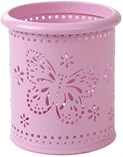 YLLAND Toporte de Pluma de Mariposa Hueca Organizador de Mesa de Metal Redondo para Reglas de bolígrafos o Pinceles de Maquillaje Rosa 7.5x7.5x10cm (Color: Blau) LNNDE (Color : Rose)