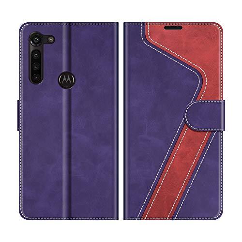 MOBESV Handyhülle für Motorola Moto G8 Power Hülle Leder, Motorola Moto G8 Power Klapphülle Handytasche Hülle für Motorola Moto G8 Power Handy Hüllen, Violett/Rot