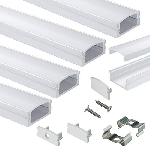 Muzata LED Channel System with Milky White Cover Lens,Silver Aluminum Extrusion Profile Housing Diffuser Track for Strip Light with 5PACK 3.3FT U Shape U1SW WW 1M, LU1