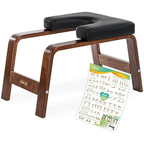 FeetUp® Yoga Kopfstandhocker - Original Kopfstand Trainer Stuhl aus Buchenholz mit Polster (Chocolate, Black)