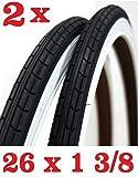 Oferta - 2X Neumático para Bicicleta Tamaño 26 X 1 3/8 - Blanco / Negro Ideal Bici Clásico Bici de Paseo Holanda Hombre Mujer