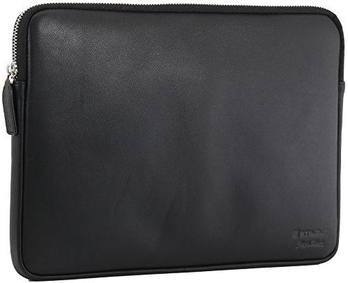 StilGut Sleeve Bellevue, Sleeve aus echtem Nappa-Leder mit Innenfächern & Reißverschluss für Notebooks bis 12