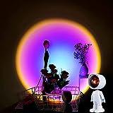 Proyección de lámpara de puesta de sol - Proyector de robot astronauta Luz LED Rotación de 360 ° Ambiente de arco iris Luz nocturna para de fiesta en casa Fotografía Selfie, Blanco ( Color : Rainbow )