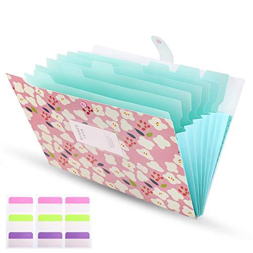 Ordner A4 8 Fächer Erweiterbar Floral Bedruckt PP Dokumentenmappe mit Schnalle Schließung Archival Organizer Rosa Abdeckung