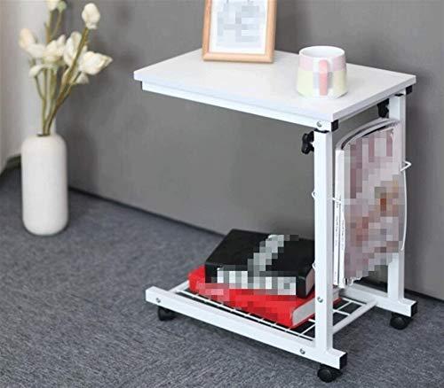ABD Mesa sobrecama con ruedas para ordenador portátil, altura ajustable, escritorio, escritorio, escritorio, mesa de trabajo económica, para sala de estar, dormitorio (color: blanco)