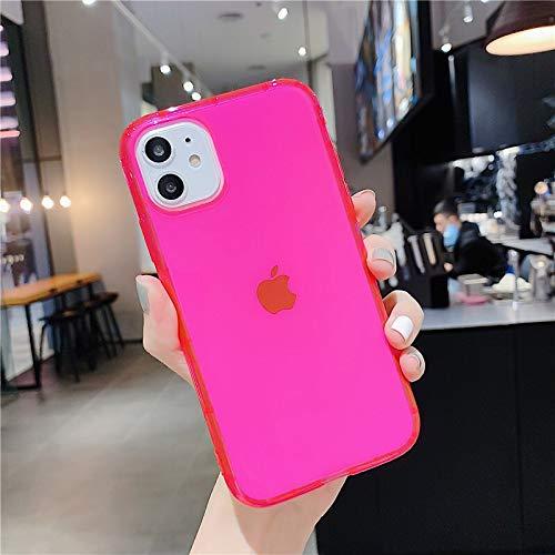 XMCJ Fluorescente de neón de Color del teléfono del iPhone Cubierta for el 11 Pro X XR XS MAX 7 8 7plus Suave de Silicona de Nuevo Caso de Shell Cubierta Equipada