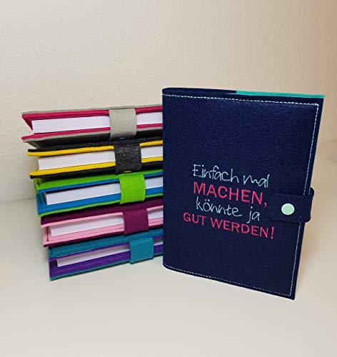 Notizbuch oder Kalender Hülle inklusive Kalender 2021 Notizbuch in A5 aus Filz individuell bestickt - personalisiert - Buchhülle - Notizbuch - Organizer