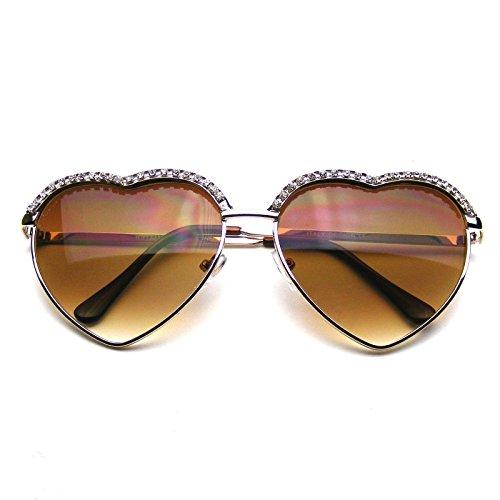 Emblem Eyewear - Lindo Corazón Elegante Forma Del Rhinestone Glam Aviador Gafas De Sol (Oro)