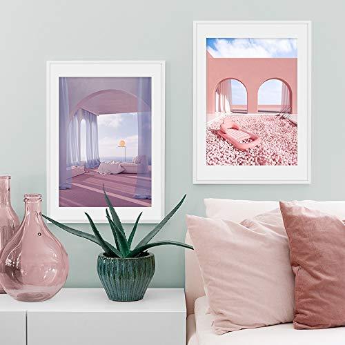 UIOLK HD Pintura en Lienzo Puerta Daybed Tienda del Desierto Arquitectura Rosa Arte de la Pared Pintura en Lienzo Carteles e Impresiones nórdicos Arte Decorativo Decoración Colorida Hogar