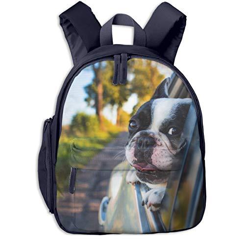 Kinderrucksack Kleinkind Jungen Mädchen Kindergartentasche Kurzmantel Welpe auf schwarzem Fensterwagen Backpack Schultasche Rucksack